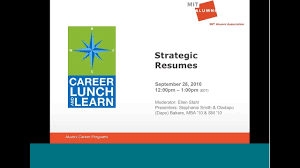 mit resumes career lunch learn strategic resumes youtube