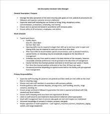 Sales Manager Job Description Template 11 Free Word Pdf Format