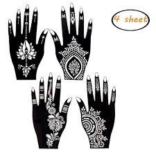 Amazoncom Ivanas 4 Pieces India Henna Tattoo Stencil Set For
