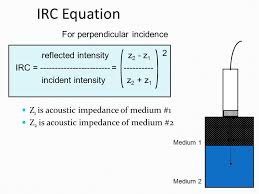 7 intensity reflection coefficient irc intensity transmission coefficient itc irc fraction of sound intensity reflected at interface 1 itc fraction