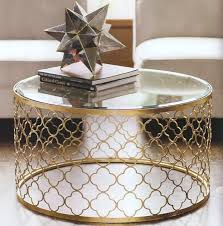 round gold coffee table glass