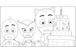 Small Picture PJ Masks Birthday Cake coloring page Free Printable Coloring Pages