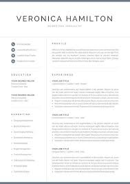 Resume Modern Temp Professional Resume Template 1 And 2 Page Resume Modern Cv Etsy