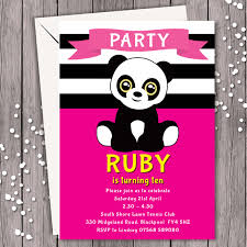 Personalised Birthday Invitations For Kids 11 Panda Pink Personalised Birthday Party Invitation Kids