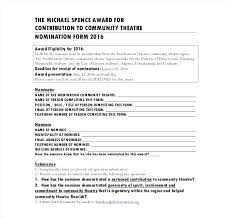 Employee Recognition Form Template Employee Award Nomination Form Template Employee Recognition
