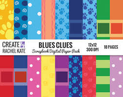 Blues Clues Inspired Digital Scrapbook Paper Pack Papers Pages