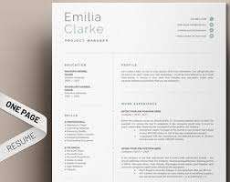 resume one page template one page resume etsy