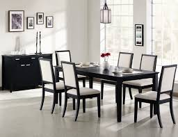 large black painted maple wood dining table with white upholstered chairs endearing black and white