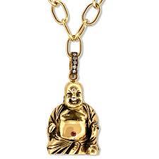18kt green gold laughing buddha charm