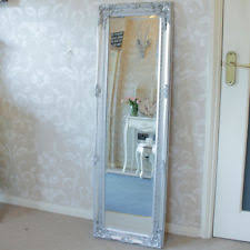 tall standing mirrors. Tall Slim Silver Wall Mirror Shabby Vintage Chic French Ornate Bedroom Hallway Standing Mirrors