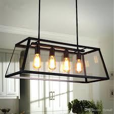 modern rectangular chandelier loft pendant lamp retro industrial black iron glass light living room dining bar modern rectangular chandelier
