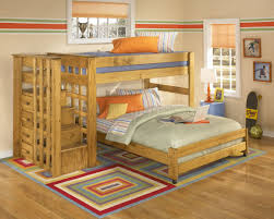 Solid Pine Bedroom Furniture Solid Pine Contemporary Kids Bunk Bed W Storage Stair Case