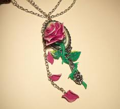 the beauty and beast enchanted rose close up by ganjamira on throughout necklace