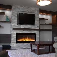 com sydney 50 inch pebble recessed pebble wall mounted electric fireplace