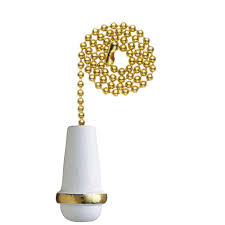 ceiling fan light pull chain replacement cord white wooden cone brass fixture