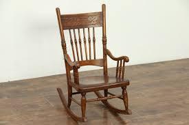 victorian rocking chair press carved antique child size rocker