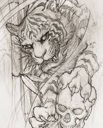 Tiger Sketch Illustration Drawing Irezumi Tattoo Asiantattoo