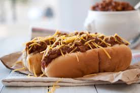 Image result for chili hot dog