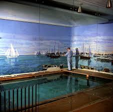 kn c bernard lamotte paints white house swimming pool mural  bernard lamotte paints white house swimming pool mural