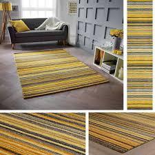 details about carter ochre mustard yellow rug runner all sizes 100 wool stripe pattern