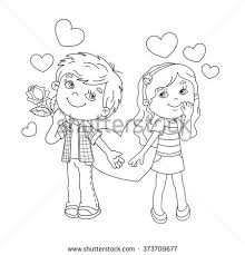 Small Picture Coloring Page Outline Cartoon Boy Holding Stock Vector 373709758