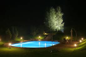 swimming pool lighting ideas. an inground swimming pool at night demonstrating various types of lighting ideas m
