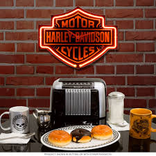 Harley Davidson Signs Decor HarleyDavidson Bar Shield Shaped Neon Clock Motorcycle Garage 57