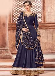 Full Length Suit Design Navy Blue Georgette Satin Wedding Floor Length Anarkali Suit