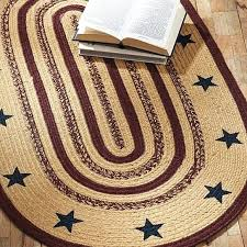 primitive rugs stars stenciled tan oval jute rug by brands on dot area farmhouse braided jute rug oval