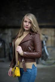 brown tan leather jacket y girl