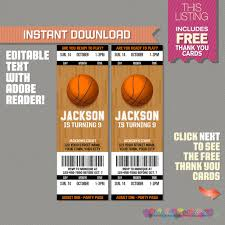 basketball invites basketball ticket invitation thank you card basketball birthday basketball party invitation edit and print adobe reader
