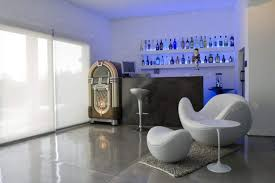 fantastic modern house lighting. Fantastic Modern Indoor Home Bar Decor Ideas With Unique White Round Lounge Chair On Grey Fur Rug Also Cool Wall Wine Rack Lighting Plus Stools House