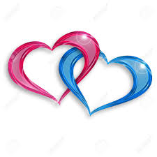 Pink And Blue Hearts Entwined On White Background Stock Photo
