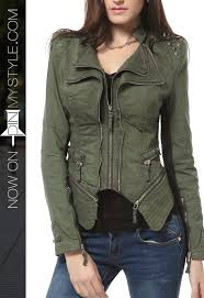 womens green studded blazer jacket by djt