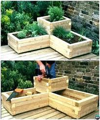 tiered garden bed flower raised beds luxury corner wood boxes 3 tie