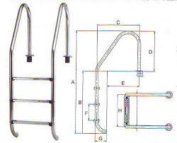Haltegriff aus edelstahl v2a holme ø 43 mm, breite ca 44 cm. Schwimmbad Leiter V4a Weitholm Deluxe 4 Stufig