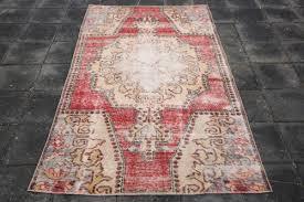 red vintage carpet 3 8x6 6 ft turkish oushak rug bohemian rugs