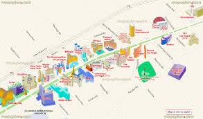 las vegas map  map of main strip hotels showing interesting sites