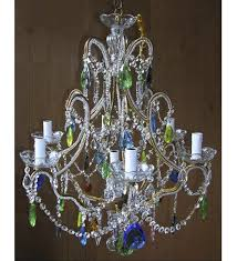 elegant continental style colourful crystal drop 6 light with murano glass chandelier