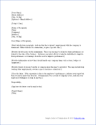 Letter Of Termination Of Employment 1 Template Format