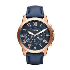 fossil watches jewelry handbags accessories more amazon com fossil men s fs4835 grant chronograph leather watch rose gold tone and blue