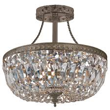 crystal flush mount chandelier. Traditional Crystal Antique Brass Semi Flush Ceiling Mount Chandelier