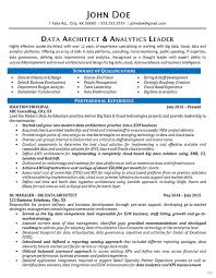 Data Architect Resume Example Data Analytics It Consultant