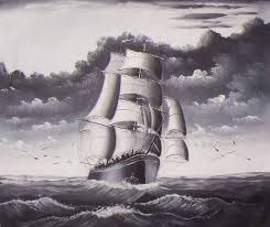 clipper ships oil painting 084 black and white clipper ship sea