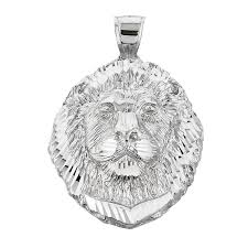 gb56546s 77 instock s goldboutique com precision cut lion head pendant necklace in sterling silver gb56546s gold boutique