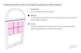 hardware and interior parts of a double hung window with circlehead
