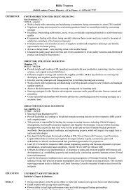Director Strategic Sourcing Resume Samples Velvet Jobs