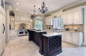 luxury kitchen with antique white cabinets long wood island with white granite counter