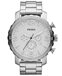 fossil men s chronograph nate stainless steel bracelet watch 50mm gallery