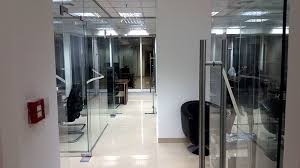 office glass doors. Office Glass Partitions Without Decorative Film And A Frameless Doors